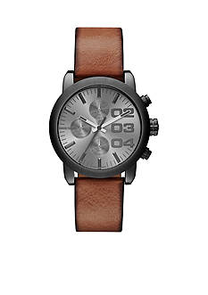 Diesel Men's Flare Chronograph Brown Leather Gunmetal Watch