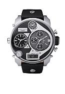 Diesel Men's XL Stainless Steel Black Chronograph Dual Digital / Analog Dial with Black Leather Strap