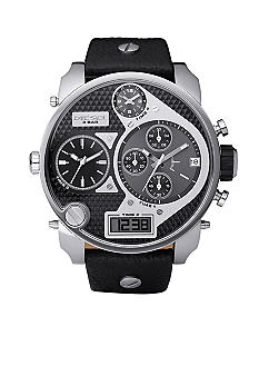 Men's XL Stainless Steel Black Chronograph Dual Digital / Analog Dial with Black Leather Strap