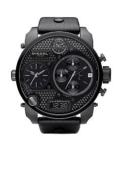 Diesel Men's Digital-Analog Black Round Chronograph Dial with Black Leather Strap Watch