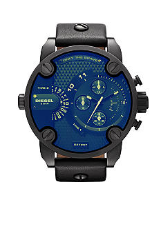 Diesel Men's Black Round Chronograph with Black Leather Strap Blue Flash Watch