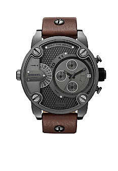 Diesel Men's Round Gunmetal with Brown Leather Watch