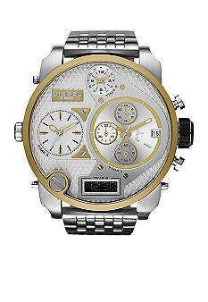 Diesel Men's XL Silver Tone & Gold Tone Stainless Steel Dual Digital / Analog Chronograph Watch