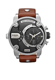 Diesel Brown Leather and Gunmetal Stainless Steel Chronograph Watch