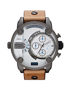 Diesel Men's Tan Leather and Gunmetal Chronograph Watch