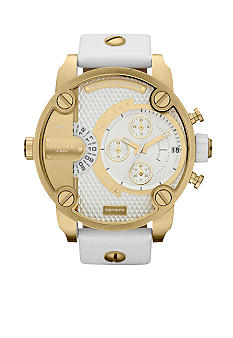 Diesel Men's Rose Gold-Tone Stainless Steel and White Leather Watch