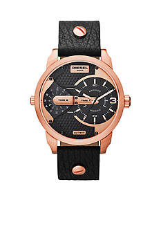 Diesel Men's Black Leather Mini Daddy Multi-Movement Watch