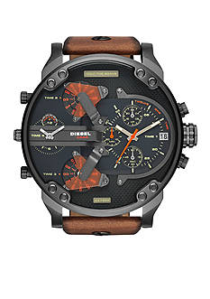 Diesel Mr. Daddy 2.0 Burnish Brown Leather Strap Multifunction Watch