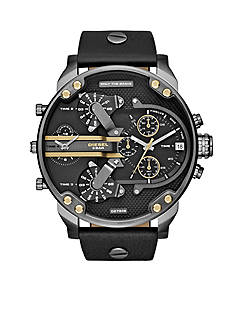 Diesel Men's Mr Daddy 2.0 Black Leather Multi Movement Watch
