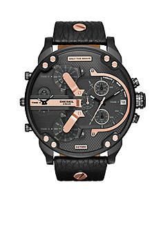 Diesel Men's Mr. Daddy Rose Gold-Tone And Black Multi Movement Watch