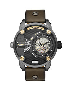 Diesel Men's Green Leather The Daddies Series Automatic Watch