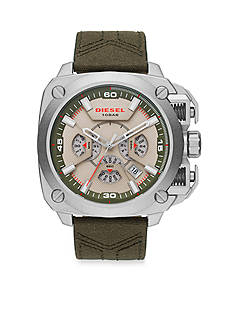 Diesel Men's BAMF Green Canvas and Brown Leather Chronograph Watch