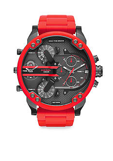 Diesel Men's Mr. Daddy 2.0 Red Silicone Multifunction Watch