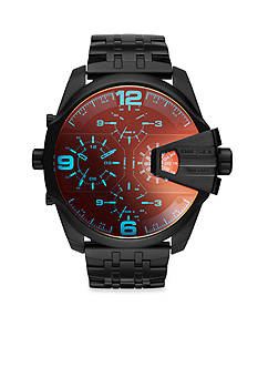 Diesel Mem's Uber Chief Black Metal with Iridescent Crystal Dial Watch