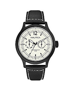 Nautica NCT 150 Multi-function Watch with Black IP Case and Black Leather Strap