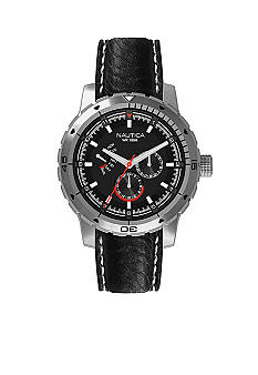 Nautica NCS 350 Multifunction with Black Pebble Grain Leather Strap