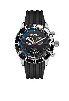Nautica Chronograph with Black Resin Strap Watch