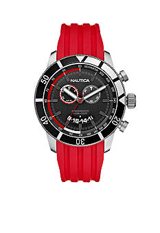 Nautica Chronograph with Red Resin Strap Watch
