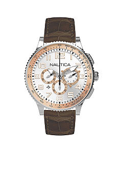 Nautica OCN 38 Chronograph with Two Tone Dial with Brown Croco Leather Strap