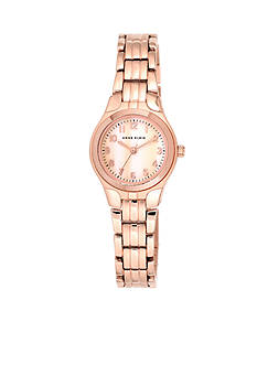 Anne Klein Rose Gold-Tone Modern Link Watch
