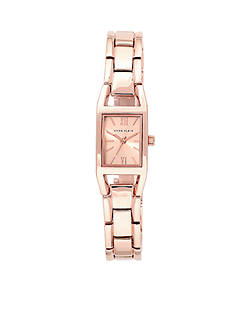 Anne Klein Women's Rose Gold-Tone Rectangular Watch