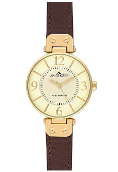 Anne Klein Gold Round Bezel with Brown Leather Strap