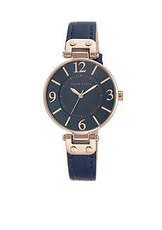Anne Klein Women's Rose Gold-Tone Navy Leather Watch
