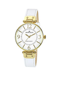 Anne Klein Gold Tone Round Case with White Leather Strap Watch