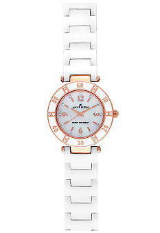 Anne Klein Rose Gold Case with White Ceramic Bracelet