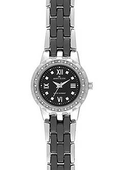 Anne Klein Silver Round Black Ceramic Watch