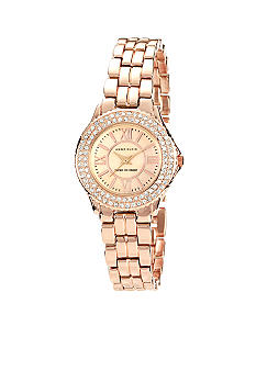 Anne Klein Crystal and Rose Gold Tone Bracelet Watch