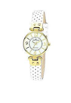 Anne Klein Round Case with White Perforated Leather Strap