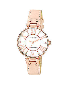 Anne Klein Oversized Round Dial with Blush Leather Strap