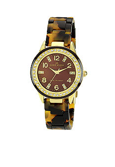 Anne Klein Tortoise and Crystal Plastic Bracelet Watch