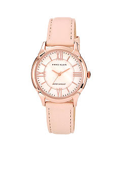 Anne Klein Rose Gold Round Case with Blush Leather Strap<br>