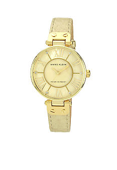 Anne Klein Round Case Leather Strap Watch