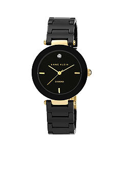 Anne Klein Black Ceramic Round Diamond Bracelet Watch