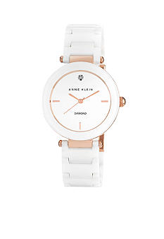 Anne Klein Diamond Dial Ceramic Watch