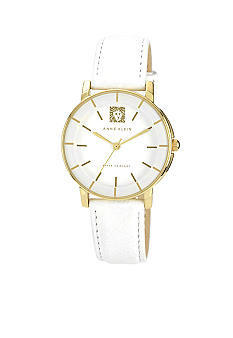 Anne Klein Lion Logo Round Strap Watch