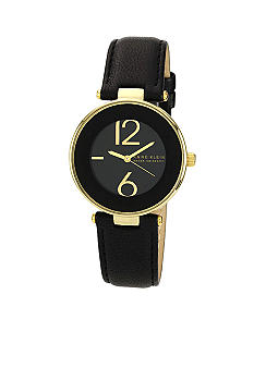 Anne Klein Black Round Case with Black Strap