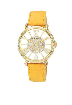 Anne Klein Gold Tone Case with Leather Strap