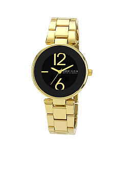 Anne Klein Black Round Case with Gold Bracelet
