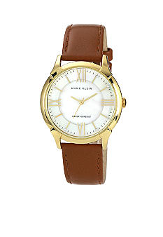 Anne Klein Gold Tone Case with Coordinating Honey Leather Strap