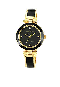 Anne Klein Diamond Dial Black Bangle Watch