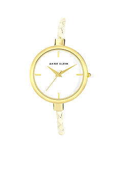 Anne Klein Gold Tone Watch with White Woven Strap
