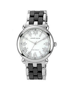 Anne Klein Silver Tone Bracelet Watch with Black Ceramic Accent