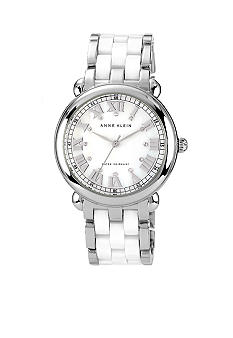 Anne Klein Silver Tone Bracelet Watch with White Ceramic Accent