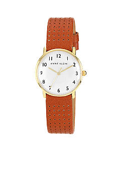 Anne Klein Gold Tone Case With Honey Perforated Strap