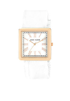 Anne Klein Rose Gold Tone Square Case With Soft Leather Strap
