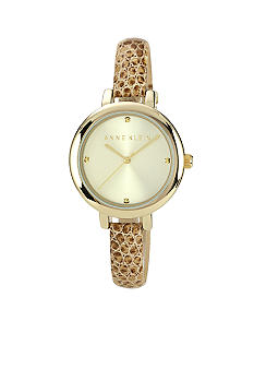 Anne Klein Gold Tone Watch with Snake Print Leather Strap